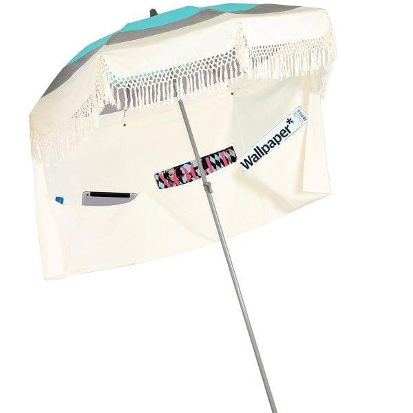 blanc gris turquoise zanzibar parasol de plage