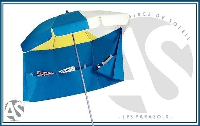 Parasol de plage blanc bleu jaune rio accessoire de soleil