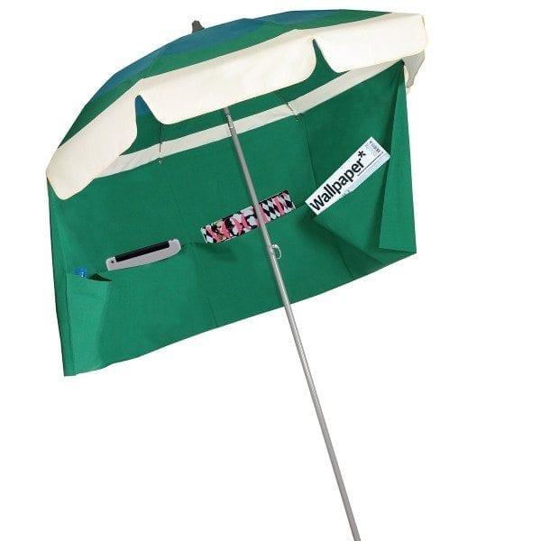 bleu vert ecru saint barth parasol de plage