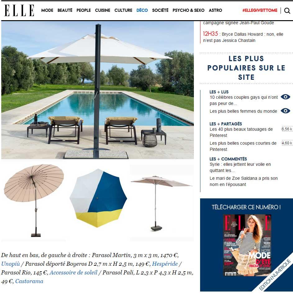 Les Parasols Accessoire de soleil dans le magazine Elle Décoration