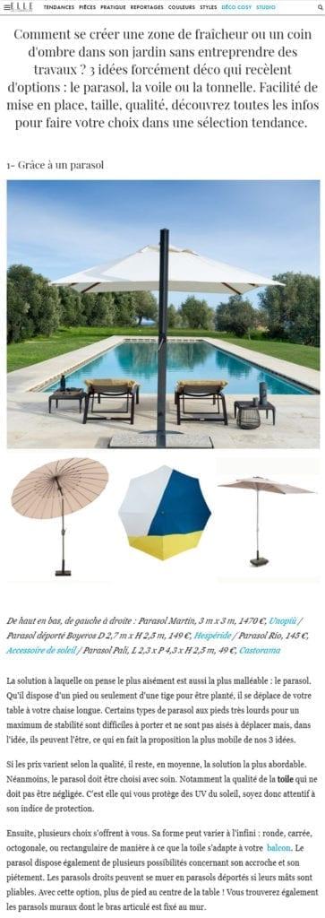 Parasol Accessoire de Soleil dans le Magazine ELLE-Décoration